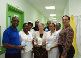 Representatives of the Milton Cato Memorial Hospital with Mustique Charitable Trust Administration Director Mrs Lavinia Gunn and representatives of Facey Trading Limited