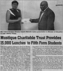 Mustique Charitable Trust Provides 15,000 lunches to Fifth Form Students